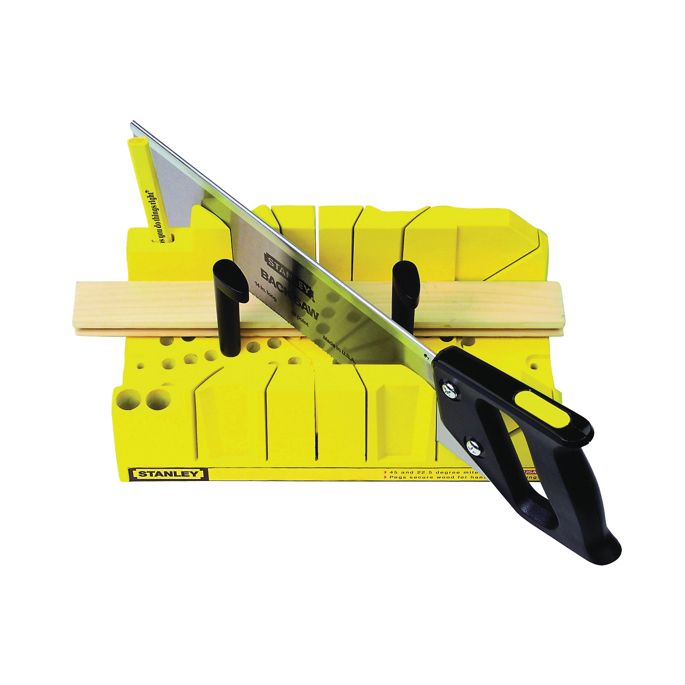 Picture of STANLEY 20-600 Clamping Mitre Box, 14 in W Cutting, 45/90 deg, 45 deg Face Angle, 22.5 deg Octagonal Cutting Slot