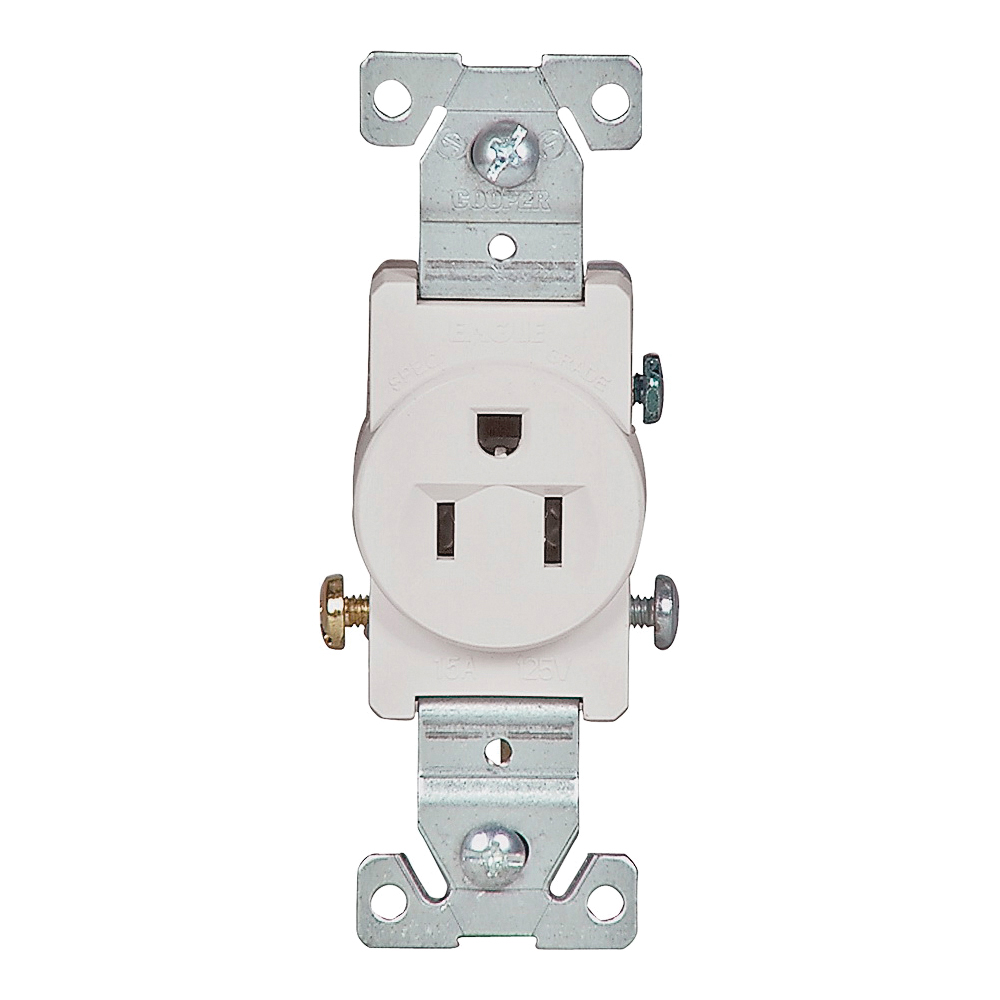 Picture of Eaton Wiring Devices 817W-BOX Single Receptacle, 2-Pole, 125 V, 15 A, Side Wiring, NEMA 5-15R, White