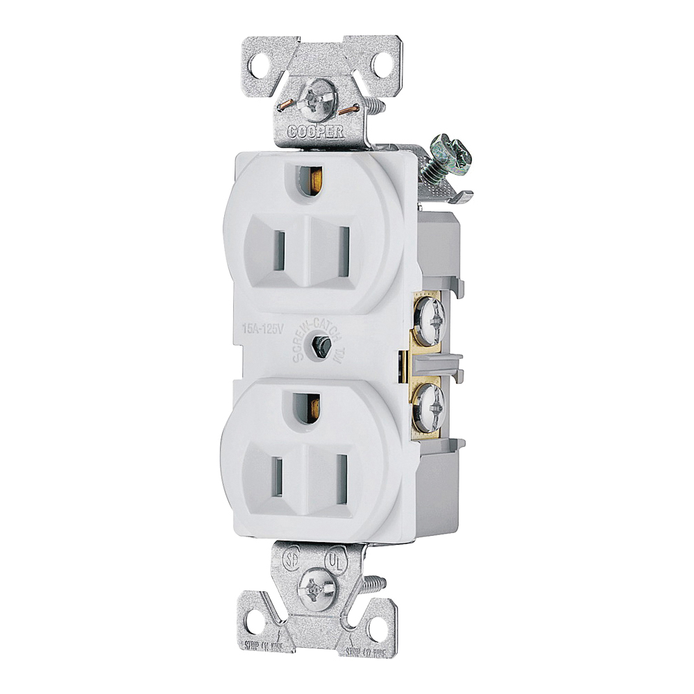 Picture of Eaton Wiring Devices 827W-BOX Duplex Receptacle, 2-Pole, 15 A, 125 V, Side Wiring, NEMA: 5-15R, White