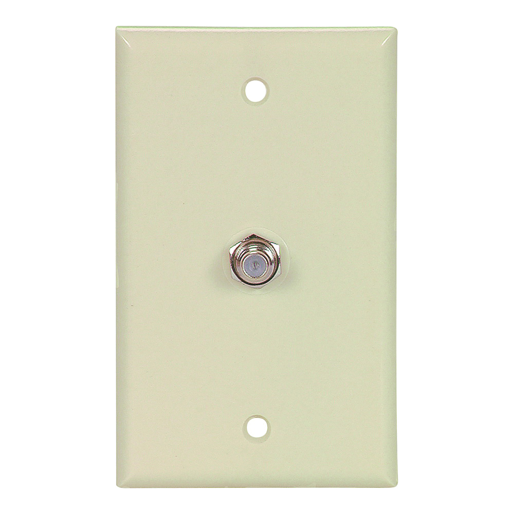 Picture of Eaton Cooper Wiring 1172V Wallplate with Coaxial Adapter, 4-1/2 in L, 2-3/4 in W, 1-Gang, Thermoplastic, Ivory