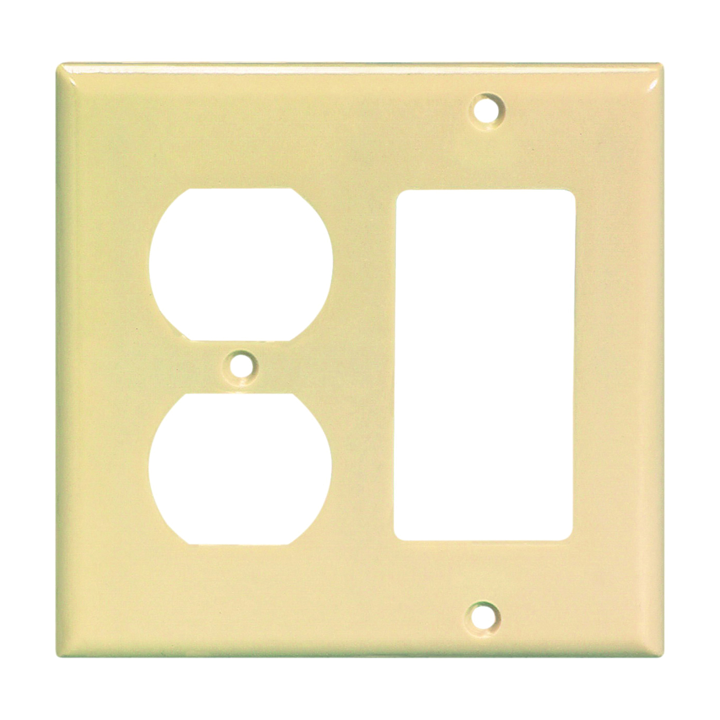 Picture of Eaton Wiring Devices 2157V-BOX Wallplate, 4-1/2 in L, 4-9/16 in W, 2-Gang, Thermoset, Ivory, High-Gloss