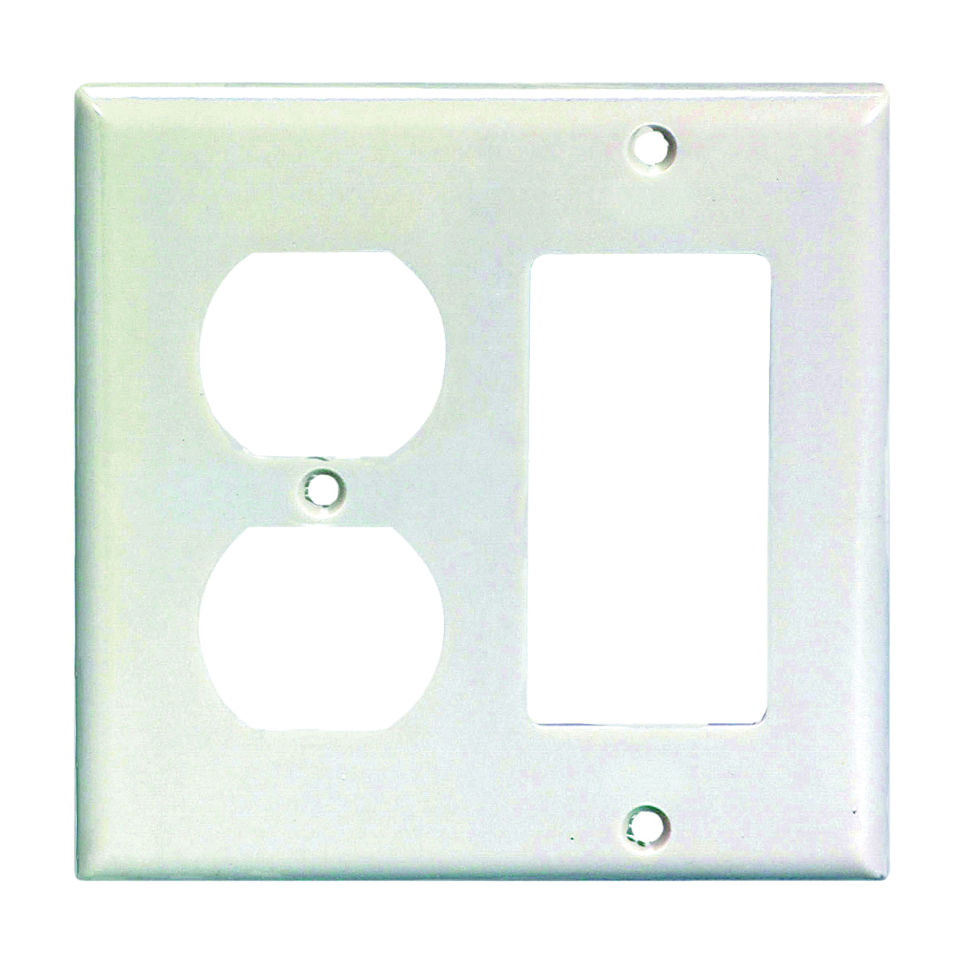 Picture of Eaton Wiring Devices 2157W-BOX Wallplate, 4-1/2 in L, 4-9/16 in W, 2-Gang, Thermoset, White, High-Gloss