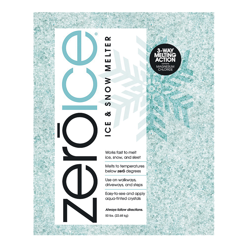 Picture of HJ Zero Ice 9587 Ice Melter, Granular, Aqua/White, 50 lb Package, Bag