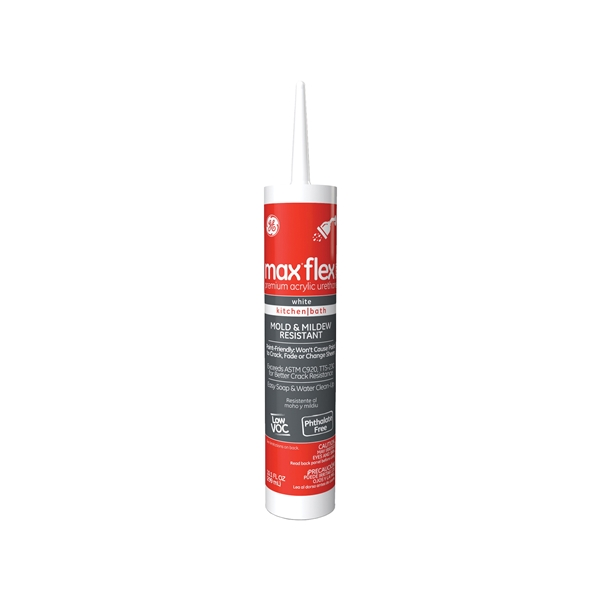 Picture of GE Max Flex 5000 GE23895 Acrylic Urethane Caulk, White, 48 hr Curing, -15 to 158 deg F, 10.1 oz Package, Tube