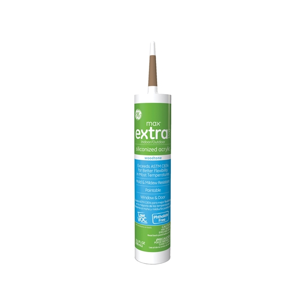 Picture of GE Max Extra 3500 GE22640 Siliconized Acrylic Caulk, Woodtone, -15 to 158 deg F, 10.1 oz Package, Cartridge