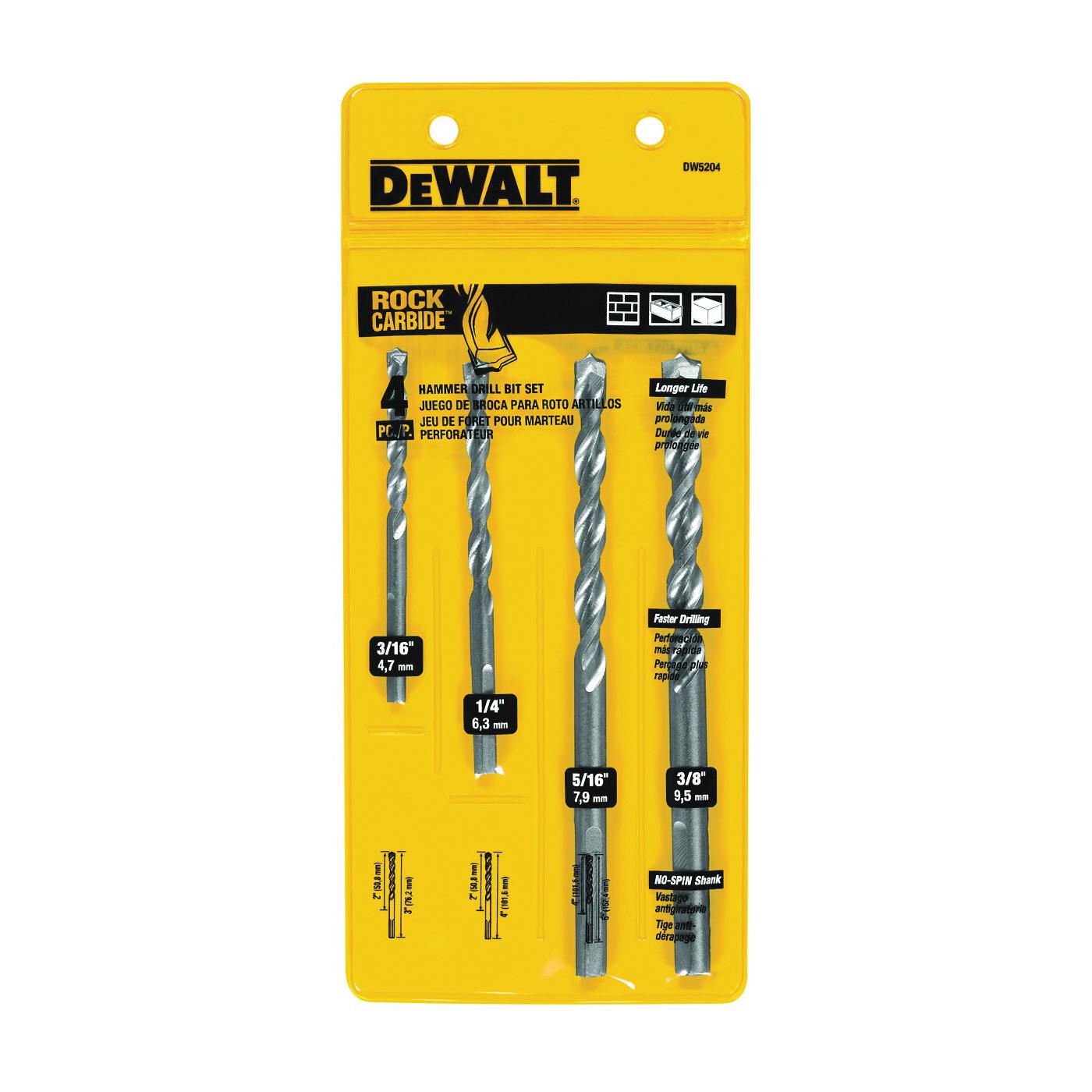 Picture of DeWALT DW5204 Hammer Drill Bit Set, Premium, 4 -Piece, Carbide, Silver