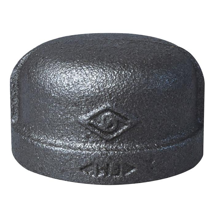 Picture of ProSource B300 32 Black Cap, 1-1/4 in, FIP, #150 Malleable Iron, SCH 40 Schedule, 150 psi Pressure