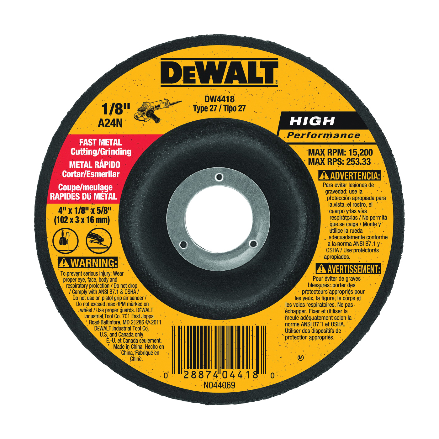 Picture of DeWALT DW4418 Grinding Wheel, 4 in Dia, 1/8 in Thick, 5/8 in Arbor, 24 Grit, Aluminum Oxide Abrasive