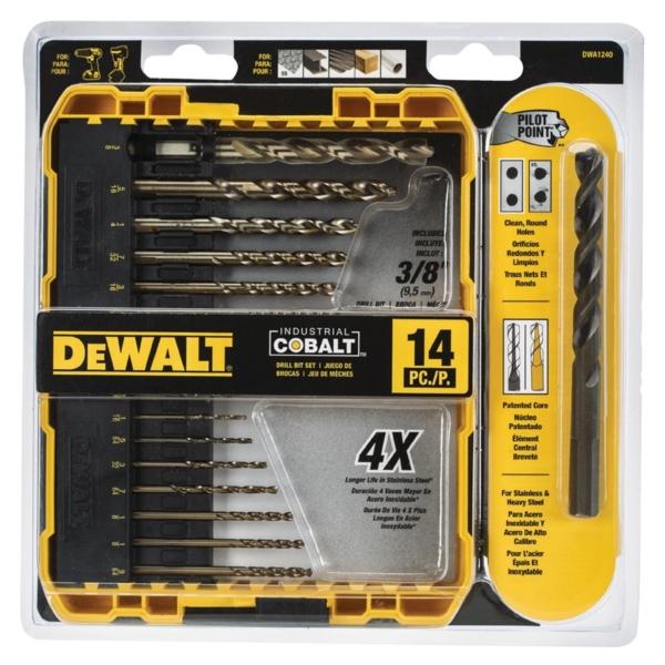 Picture of DeWALT DWA1240/DW1263 Drill Bit Set, Industrial, 14 -Piece, Cobalt Steel, Ferrous Oxide