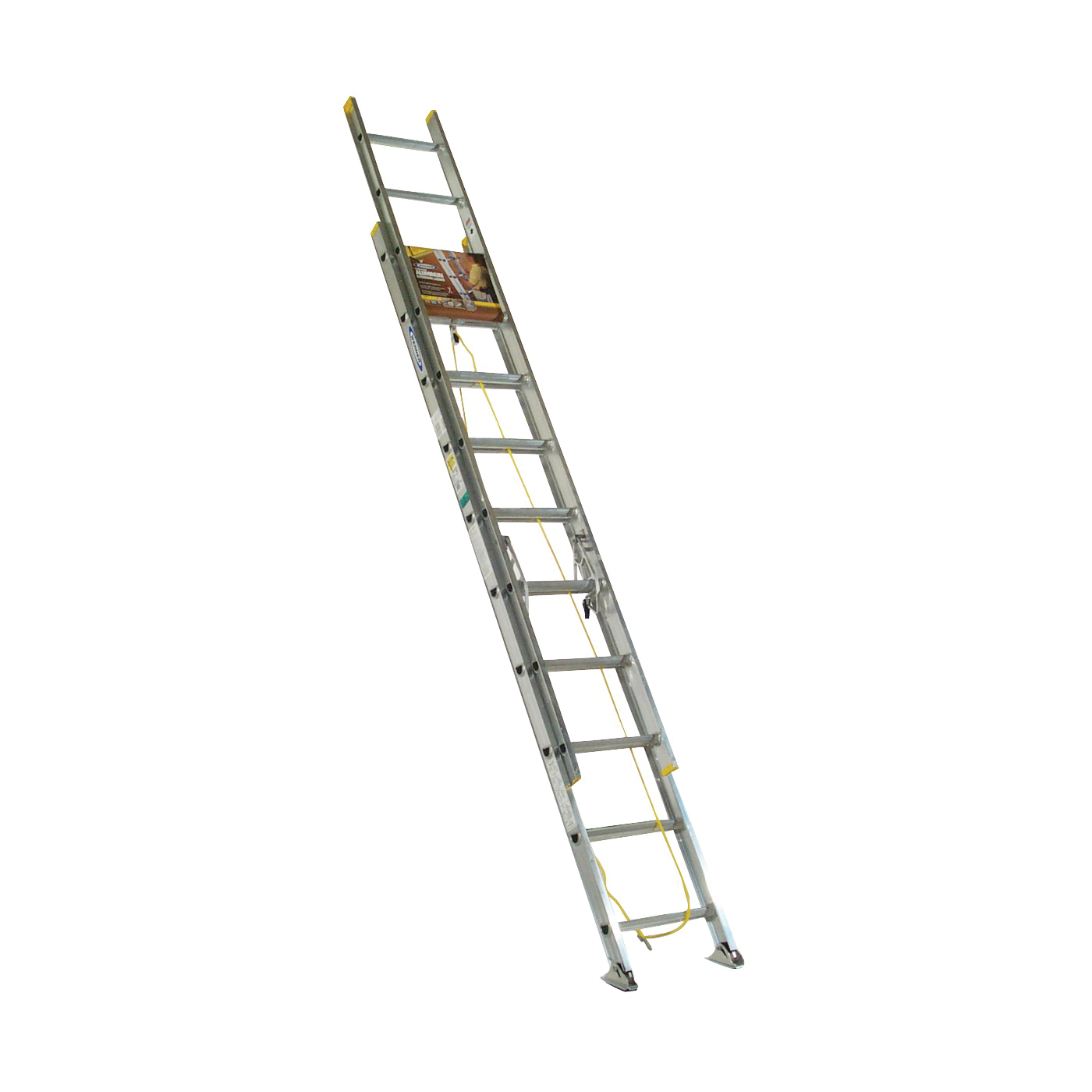 Picture of WERNER D1220-2 Extension Ladder, 19 ft H Reach, 225 lb, Aluminum