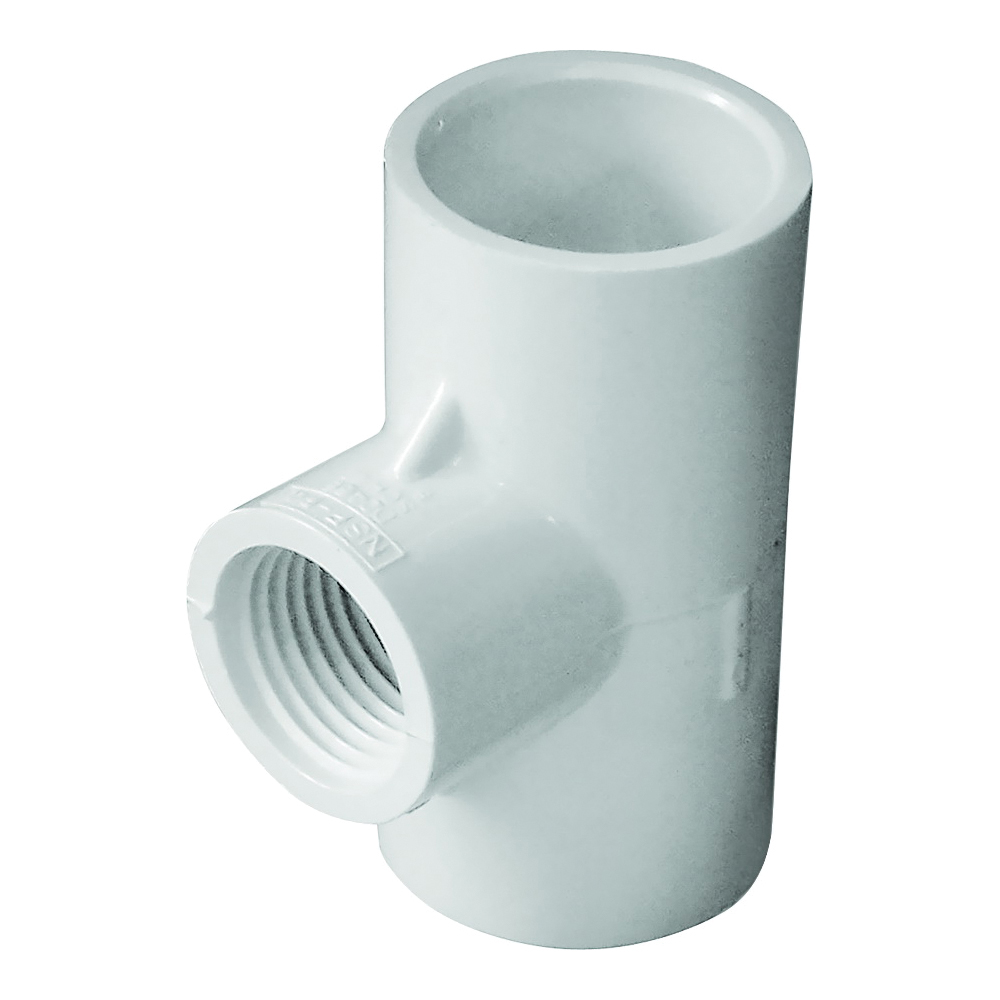 Picture of GENOVA 300 Series 31481 Pipe Reducing Tee, 3/4 in Run, Slip Run Connection, 1/2 in Branch, White