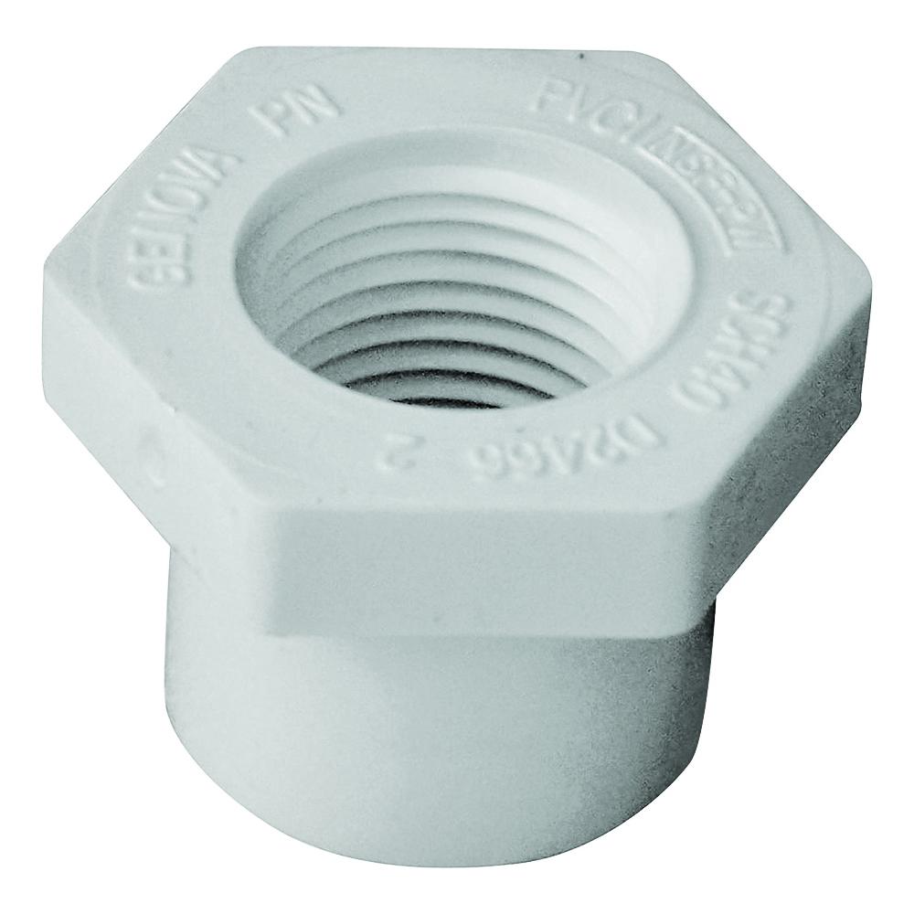 Picture of GENOVA 300 Series 34275 Pipe Reducing Bushing, 3/4 x 1/2 in, Spigot x FIP, White, SCH 40 Schedule