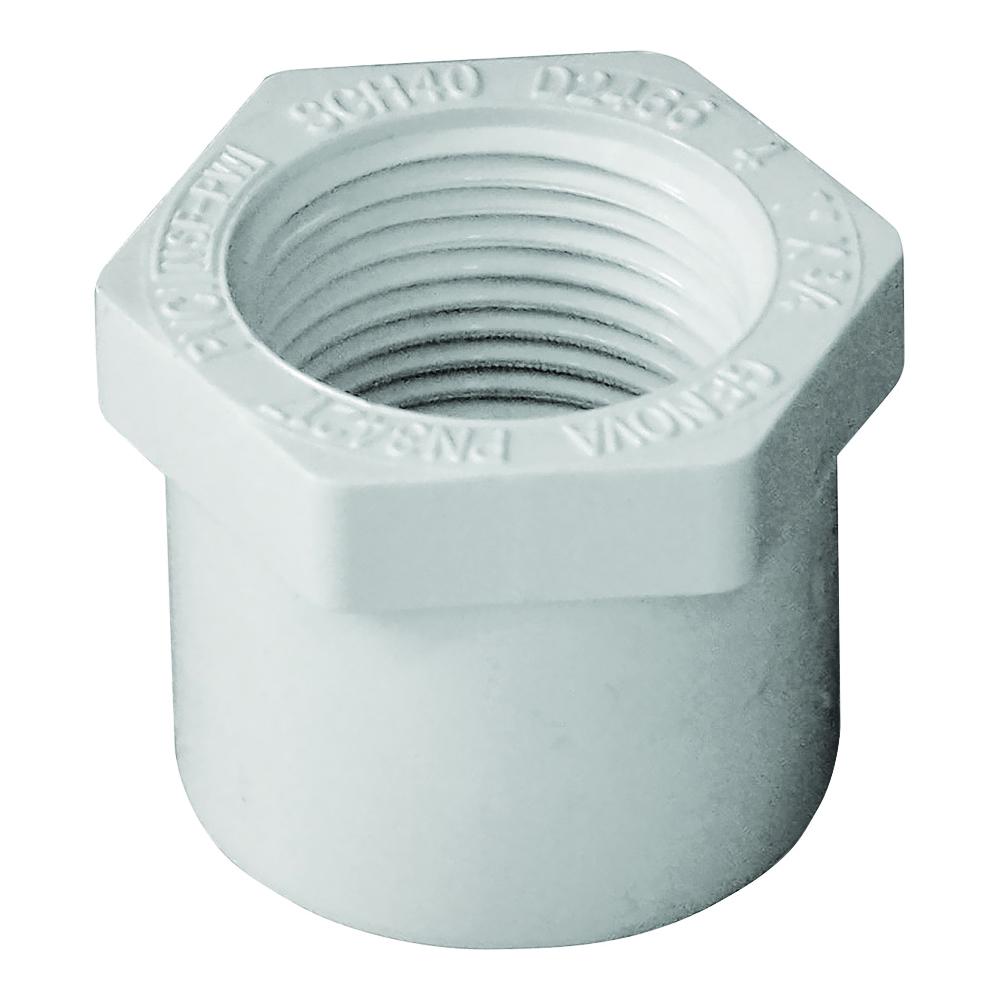 Picture of GENOVA 300 Series 34217 Pipe Reducing Bushing, 1 x 3/4 in, Spigot x FIP, White, SCH 40 Schedule