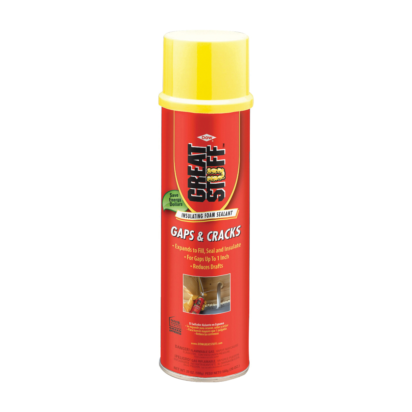 Picture of Dow 157911 Foam Sealant, Yellow, 20 oz Package, Aerosol Can