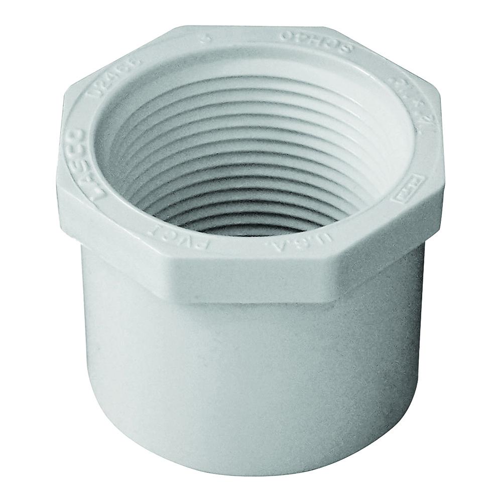 Picture of GENOVA 300 Series 34254 Pipe Reducing Bushing, 1-1/2 x 1-1/4 in, Spigot x FIP, White, SCH 40 Schedule