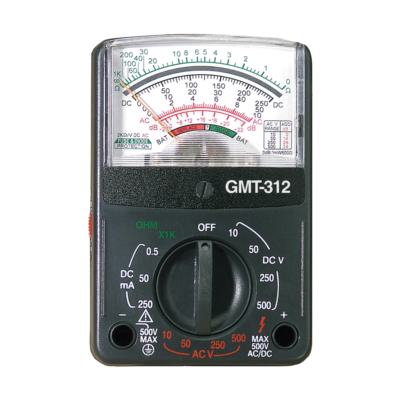 Picture of GB GMT-312 Analog Multimeter, Analog Display, Functions: AC Voltage, Continuity, DC Current, DC Voltage, Resistance