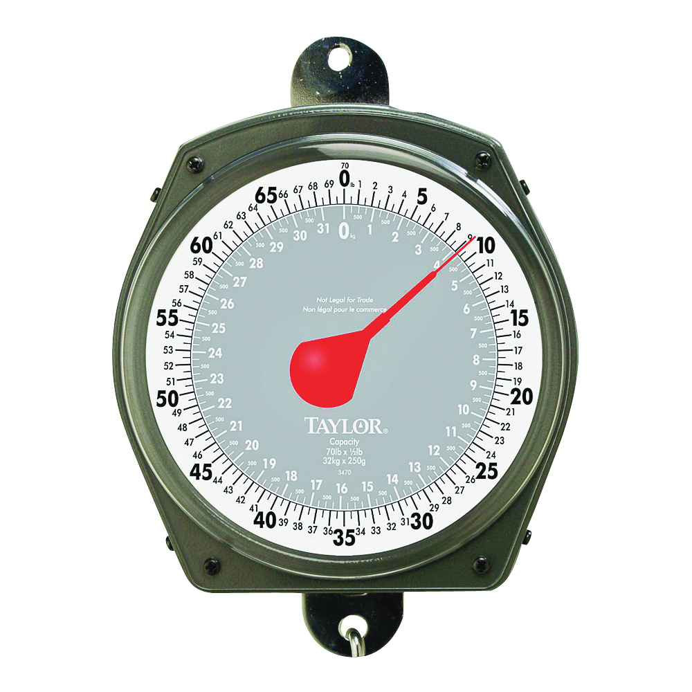 Picture of Taylor 3470 Hanging Scale, 70 lb Capacity, Analog Display, Steel Housing Material, lb