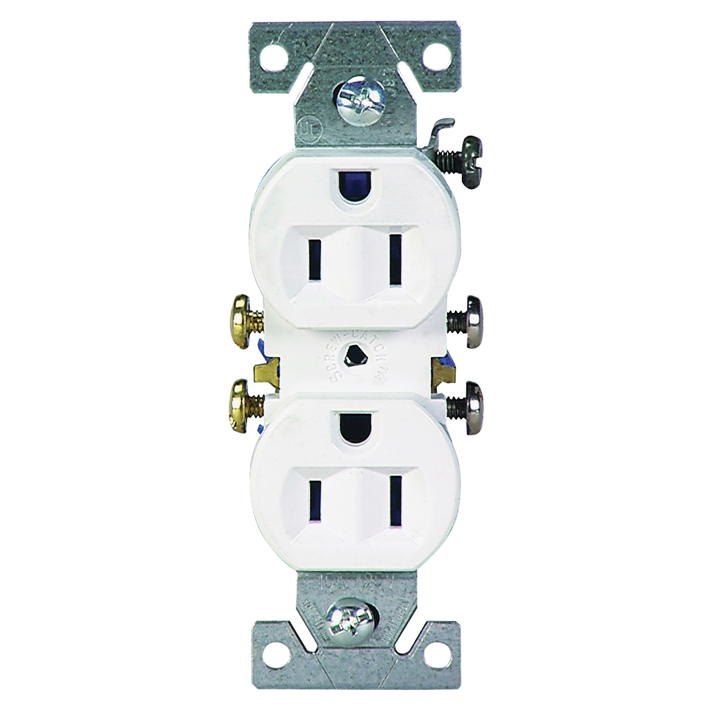 Picture of Eaton Wiring Devices C270W Duplex Receptacle, 2-Pole, 15 A, 125 V, Push-in, Side Wiring, NEMA: 5-15R, White