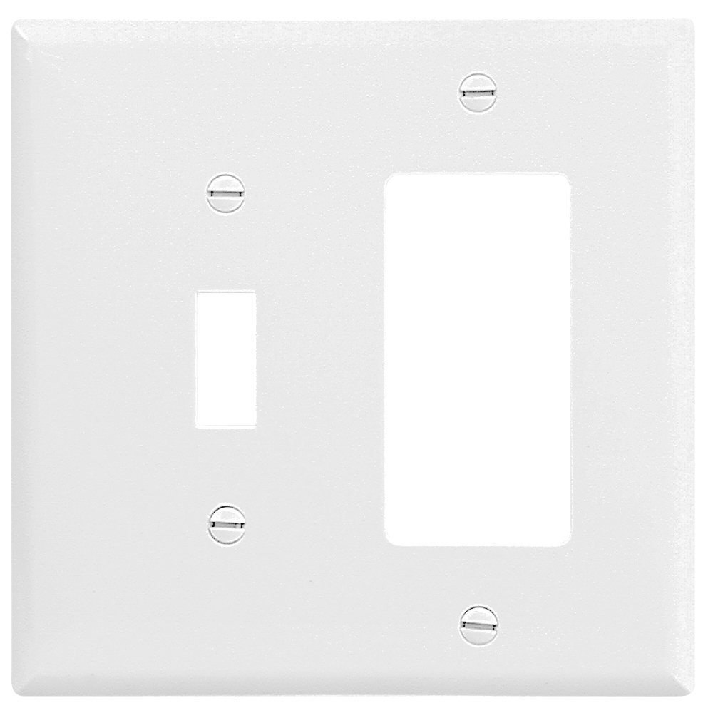 Picture of Eaton Wiring Devices 2153W-BOX Wallplate, 4-1/2 in L, 4-9/16 in W, 2-Gang, Thermoset, White, High-Gloss