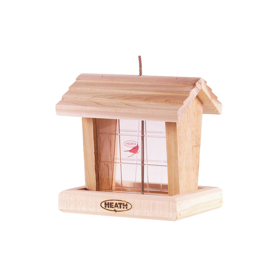 Picture of HEATH 152-2 Hopper Bird Feeder, 3 lb, Cedar Wood, Hanging Mounting