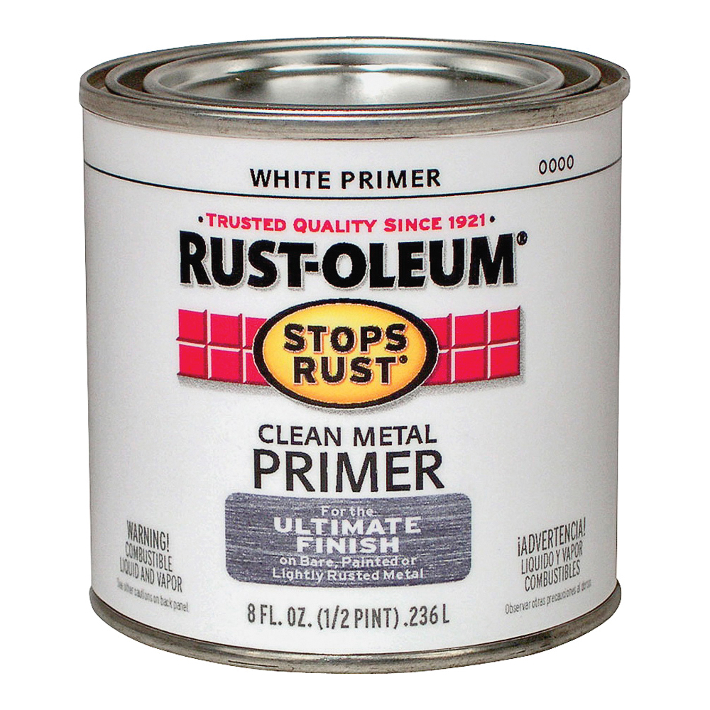 Picture of RUST-OLEUM STOPS RUST 7780730 Clean Metal Primer, Flat, White, 0.5 pt