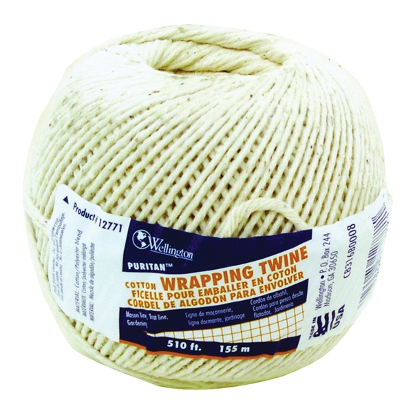 Picture of Wellington Puritan 12771 Baler Twine, #16 Dia, 510 ft L, 2 lb Working Load, Cotton, Natural