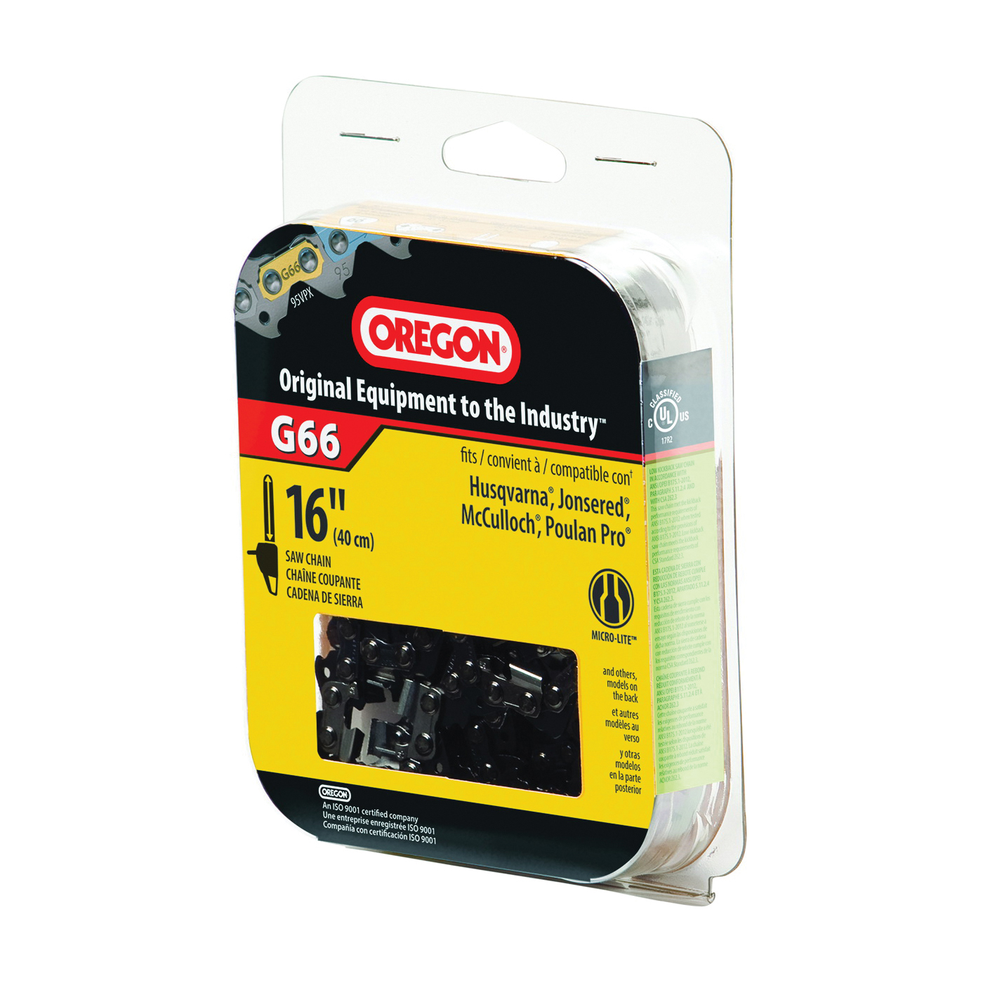 Picture of Oregon Micro-Lite M66 Chainsaw Chain, 16 in L Bar, 0.05 Gauge, 0.325 in TPI/Pitch, 66 -Link