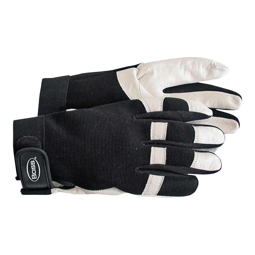 Picture of BOSS 4047L Medium-Duty Protective Gloves, L, Wing Thumb, Elastic Cuff, Goatskin Leather, White