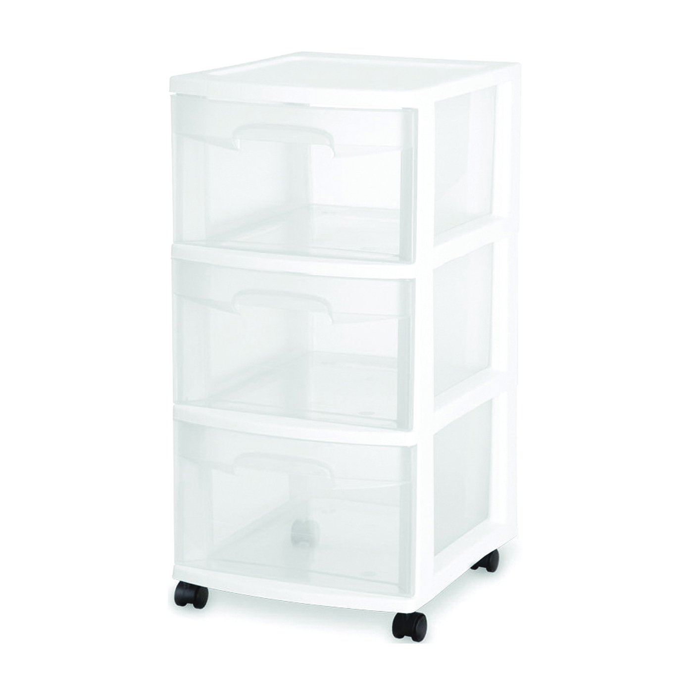 Picture of Sterilite 28308002 Drawer Cart, 3-Drawer, Plastic Drawer, Clear Drawer, 14-1/2 in OAL, 12-5/8 in OAW