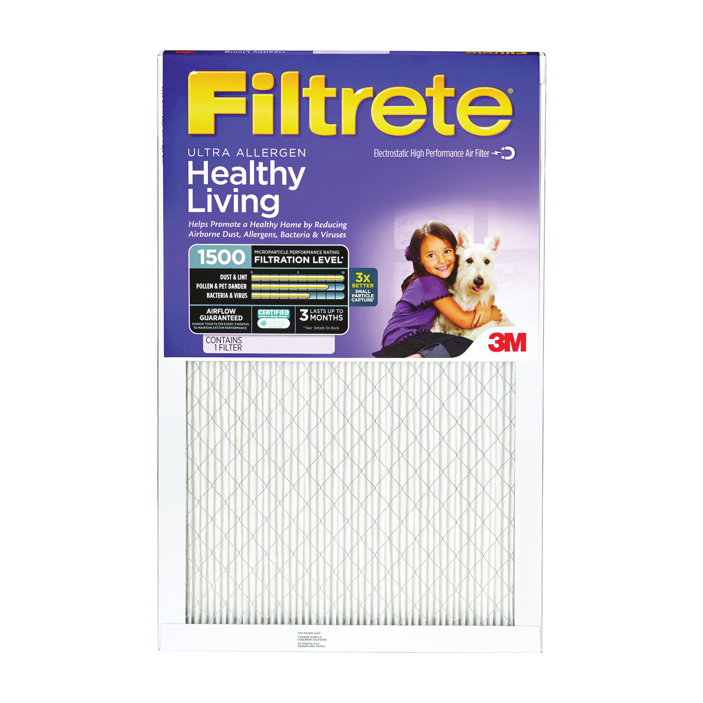 Picture of Filtrete 2028DC-6 Air Filter, 30 in L, 18 in W, 11 MERV, Electrostatically Charged Microfiber Filter Media