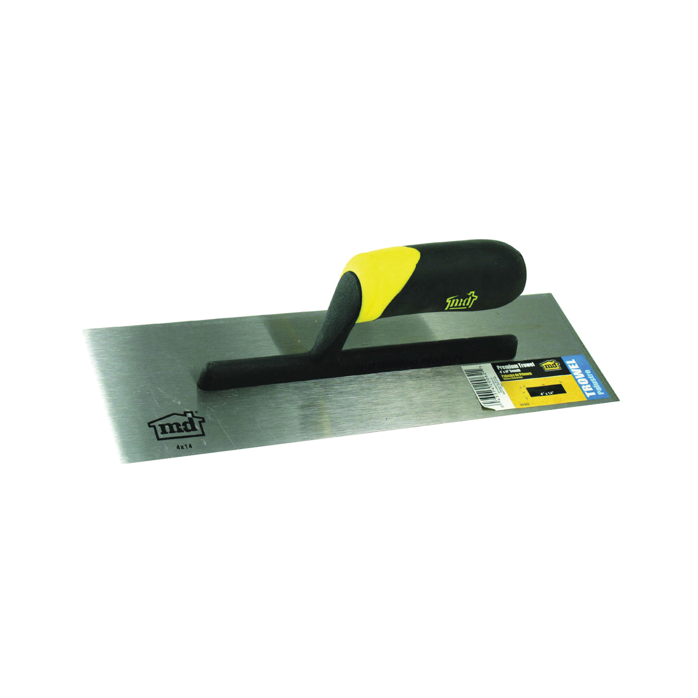 Picture of M-D 20062 Finishing Trowel, 14 in L Blade, 4 in W Blade, Steel Blade, Comfort Grip Handle, Thermoplastic Handle