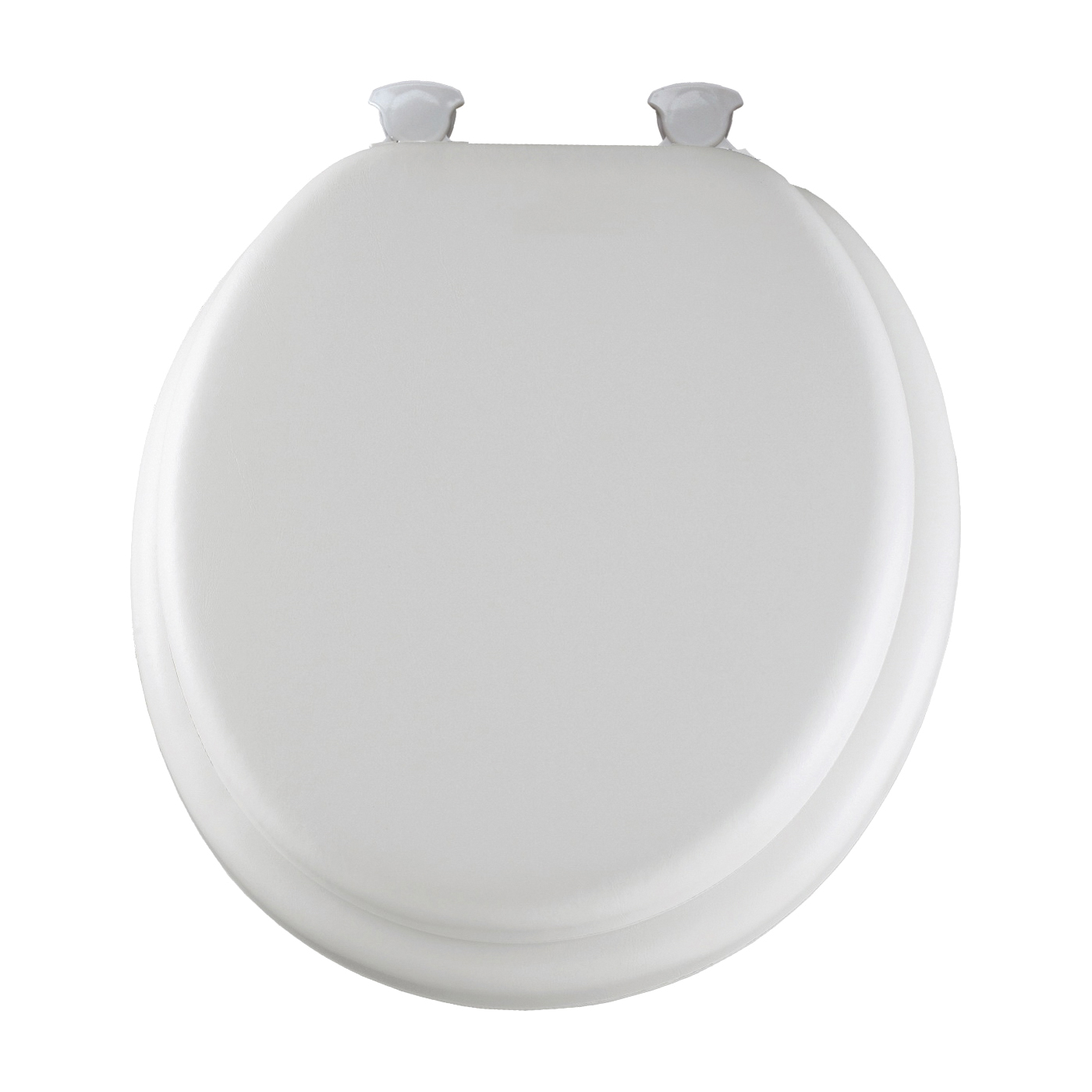 Picture of Mayfair 13EC-000 Toilet Seat, Round, Foam/Vinyl/Wood, White, Twist Hinge