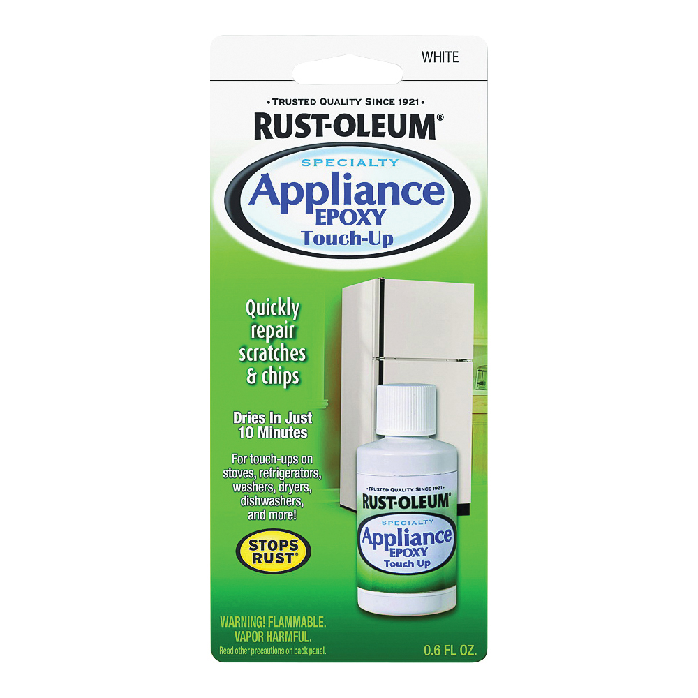 Picture of RUST-OLEUM SPECIALTY 203000 Appliance Touch-Up Paint, Solvent-Like, White, 0.6 oz, Bottle
