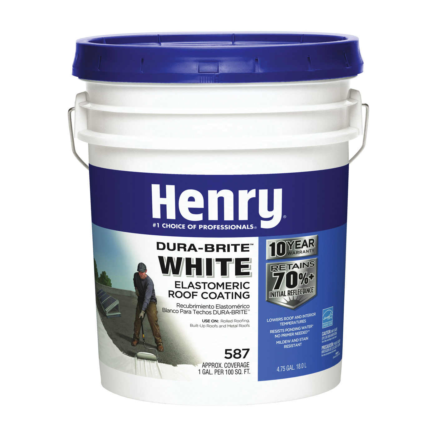 Picture of Henry HE587372 Elastomeric Roof Coating, White, 5 gal, Pail, Cream