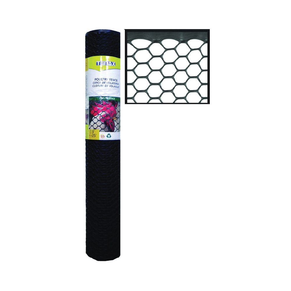 Picture of TENAX 206866 Poultry Fence, 25 ft L, 3 ft W, Hexagonal Mesh, 3/4 x 3/4 in Mesh, Plastic, Black