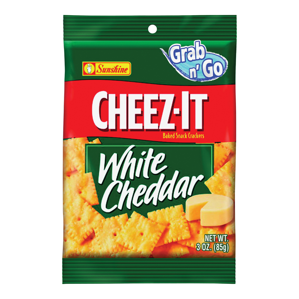 Picture of CHEEZ-IT CHEEZITWC6 Baked Snack Crackers, White Cheddar Flavor, 3 oz Package, Bag
