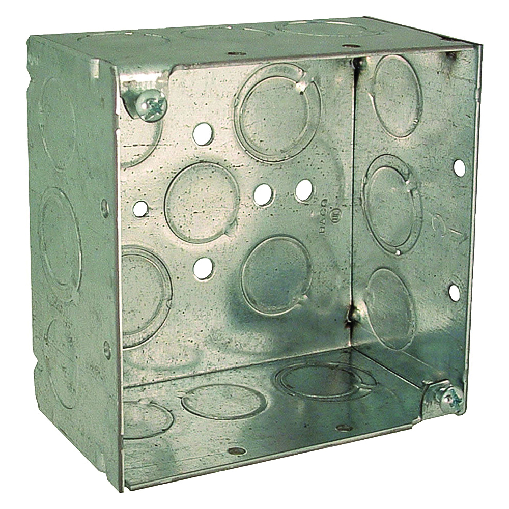 Picture of Orbit 4SDB-50/75 Switch Box, 2-Gang, 16-Knockout, 1/2, 3/4 in Knockout, Steel, Gray, Galvanized