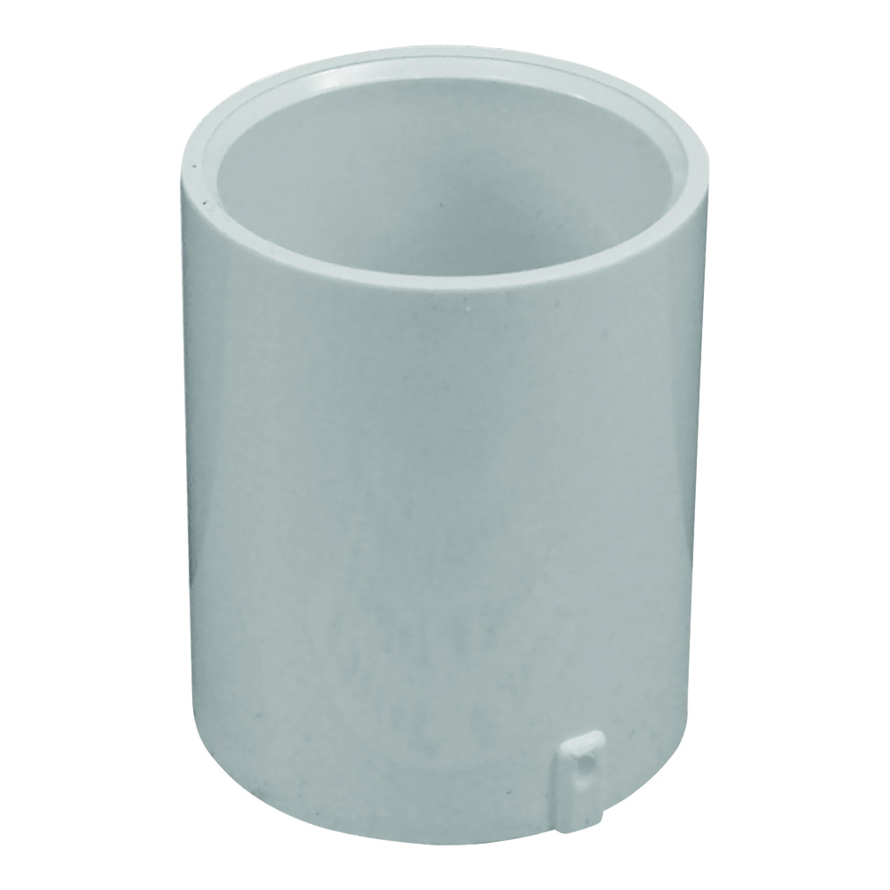Picture of GENOVA 300 Series E30107 Extended Pipe Coupler, 3/4 in, Slip Joint, White, SCH 40 Schedule, 480 psi Pressure
