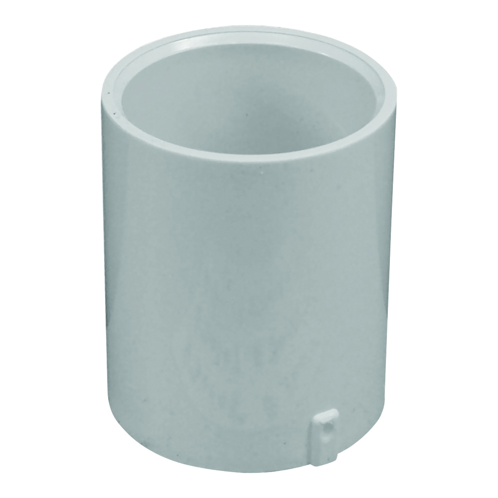 Picture of GENOVA 300 Series E30110 Extended Pipe Coupler, 1 in, Slip Joint, White, SCH 40 Schedule, 450 psi Pressure