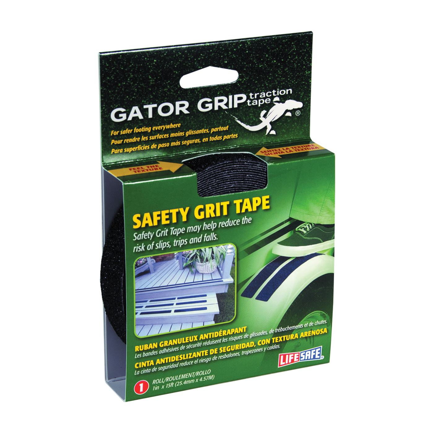 Picture of INCOM Gator Grip RE3950 Safety Grit Tape, 15 ft L, 1 in W, PVC Backing, Black