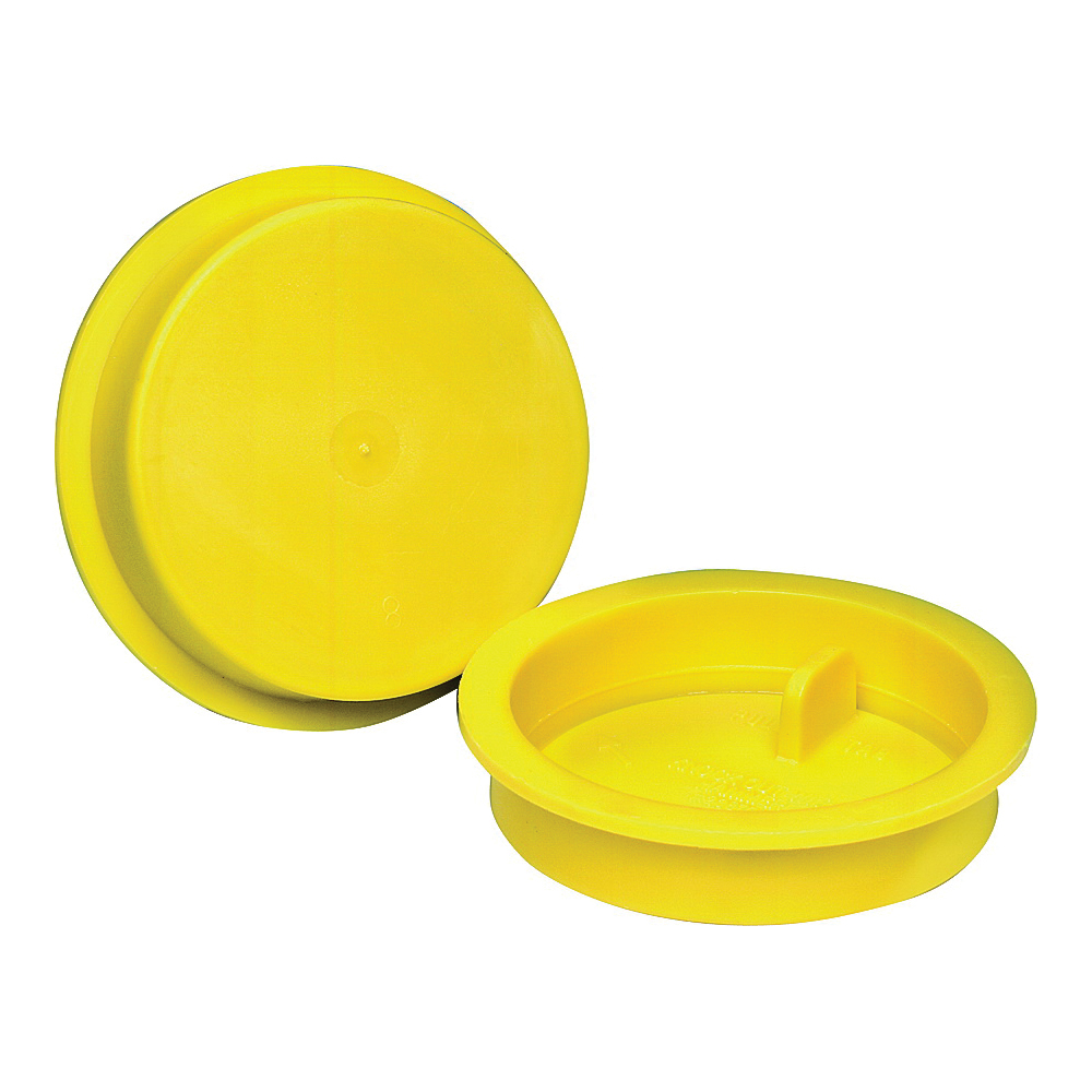 Picture of Oatey Knock-Out 39101 Test Cap with Barcode, 2 in Connection, ABS, Yellow
