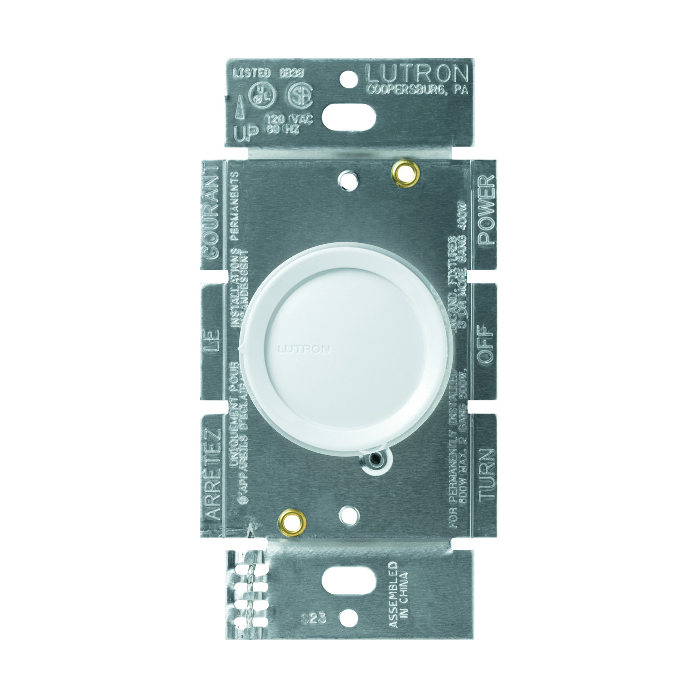 Picture of Lutron D-603PGH-DK Rotary Dimmer, 5 A, 120 V, 600 W, Halogen, Incandescent Lamp, 3-Way, Ivory/White