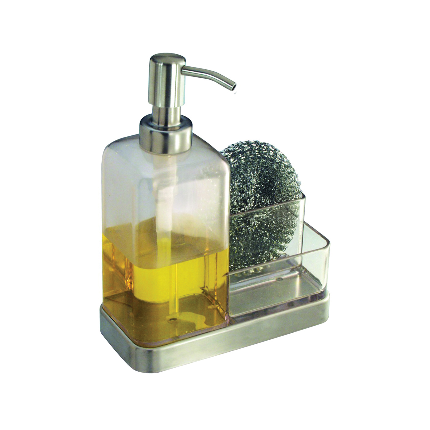 Picture of iDESIGN 67080 Soap and Sponge Caddy, Stainless Steel, Clear