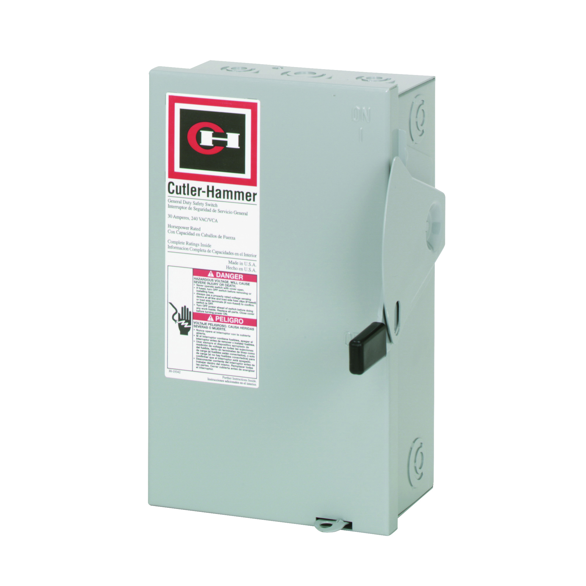 Picture of Cutler-Hammer DG221NGB Safety Switch, 2-Pole, 30 A, 240 V