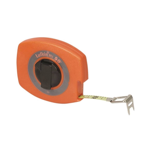 Picture of Crescent Lufkin 50 Tape Measure, 50 ft L Blade, 3/8 in W Blade, Steel Blade, ABS Case, Orange Case