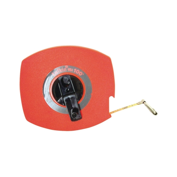 Picture of Crescent Lufkin 100L Tape Measure, 100 ft L Blade, 3/8 in W Blade, Steel Blade, ABS Case, Orange Case