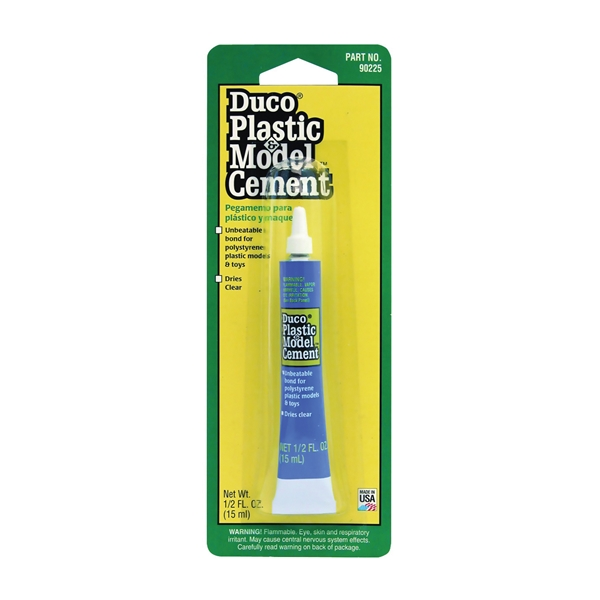 Picture of Devcon 90225 Plastic and Model Cement, Liquid, Solvent, Clear, 0.5 oz Package, Tube