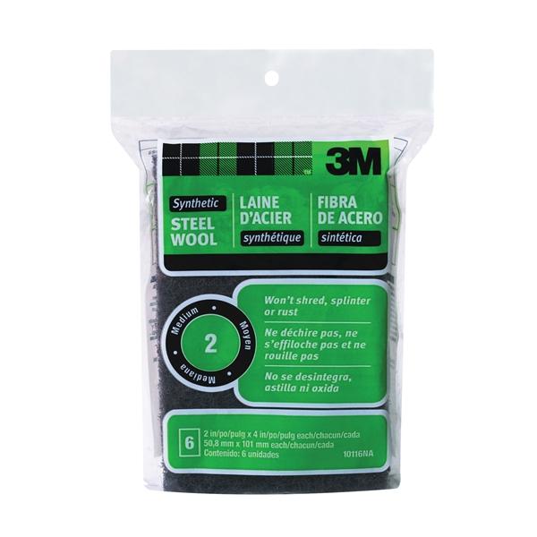 Picture of 3M 10116 Steel Wool Pad, 4 in L, 2 in W, #2 Grit, Medium, Black