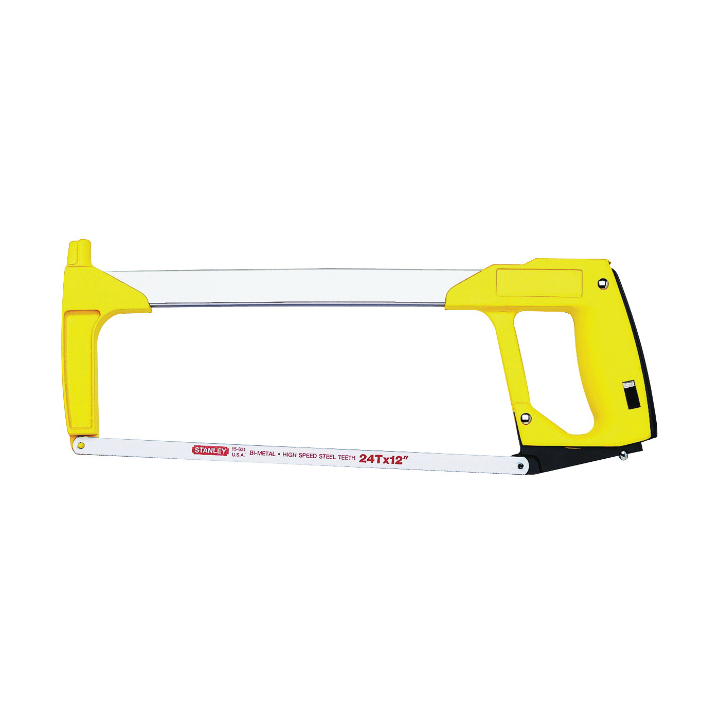 Picture of STANLEY 15-113 Hacksaw, 12 in L Blade, 24 TPI, 3-7/8 in D Throat, Plastic/Rubber Handle