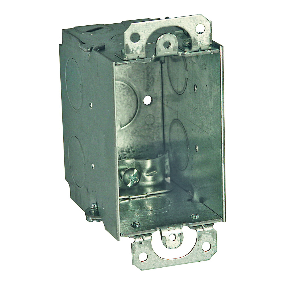 Picture of RACO 567 Switch Box, 1-Gang, 1-Outlet, 7-Knockout, 1/2 in Knockout, Steel, Gray, Galvanized